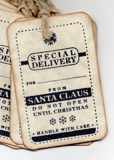 Christmas Gift Tags - Special Delivery From Santa Vintage Christmas Tags