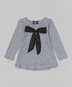 This Gray Mesh Bow Top - Infant, Toddler & Girls by Dreaming Kids is perfect! #zulilyfinds