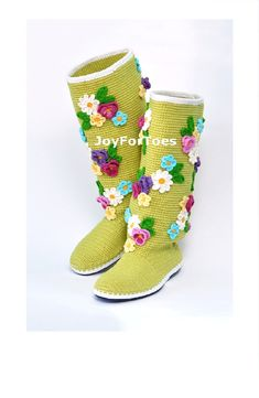 Crochet Boots for the Street Green Spring Boots Green Colors Frolar Boots Crochet Shoes