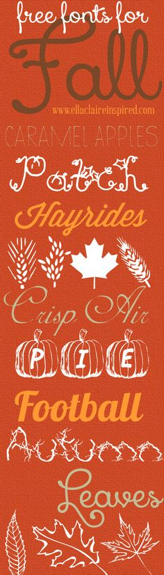 Free fonts for Fall! Perfect for all of those Fall projects!