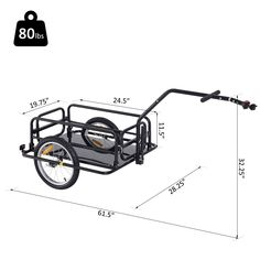 Aosom Folding Bicycle Bike Cargo Storage Cart and Luggage Trailer with Hitch - Black Bike Cargo Trailer, Cargo Trailers, Utility Trailer, Bicycle Sidecar, Bike Cart, Velo Cargo, Kayak Rack, Trailer Plans, Folding Bicycle