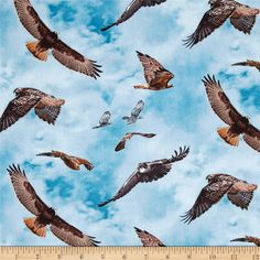 North American Wildlife Red Tail Hawk Blue from @fabricdotcom  From Elizabeth's Studio, this cotton print is perfect for quilting, apparel and home decor accents.  Colors include white, blue, grey and shades of brown.
