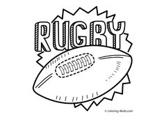 Rugby sport coloring page for kids, printable free 2