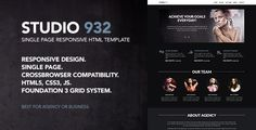 Studio 932 - Single Page Responsive Template . Studio 932 is a single page responsive HTML Template. Minimal and clean design. Is compatible with all modern mobile devices. Perfect to promote your