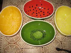 Watermelon, lemon, orange & kiwi serving bowls