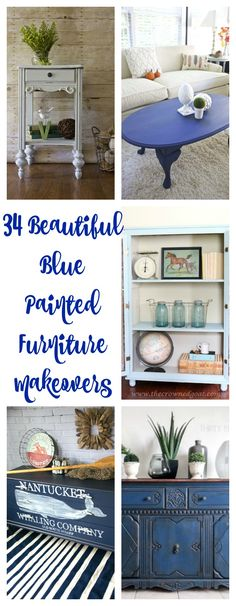 . Blue Painted Furniture. Blue chalk painted furniture. 34 Beautiful Blue Furniture Makeovers