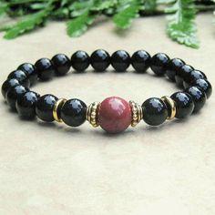 Woman's Stretch Bracelet, Matte Black Onyx & Maroon Mookaite Gemstone Mala Bracelet, Black Bracelet, Yoga Jewelry, Spiritual Tibetan Jewelry