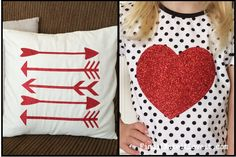 Heat Transfer vinyl Valentine's shirt and pillow. Easy, inexpensive, and cute! Find it make it love it!
