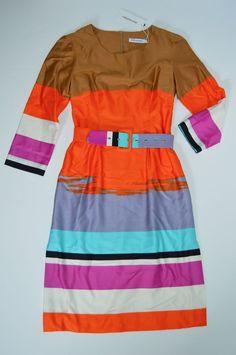 NWT Marimekko Guassi Striped Multicolor Bright Belted Dress 32 XS $398 #Marimekko