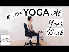 Yoga At Your Desk - 10 Min Office Yoga Stretches - Chair Yoga for Everyo. Desk Yoga, Chair Yoga, Desk Chair, Office Yoga Chair, Sofa Chair, Office Desk, Health Education, Physical Education, Best Chair For Posture