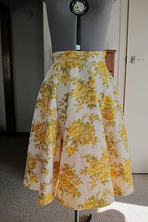 quilted yellow circle skirt made from vintage sheets