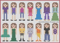 Anne's Handspun: Cross Stitch People: Clothes 1 (I like the first one body wise. Change hair to blond with bun) Cross Stitch Family, Cross Stitch Baby, Modern Cross Stitch, Counted Cross Stitch Patterns, Cross Stitch Embroidery, Embroidery Patterns, Cross Stitch Cards, Cross Stitching, Sewing Projects