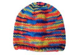 Self Striped Rainbow Beanie Hat, Hand Knit, All Sizes, £14.99