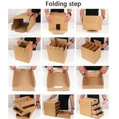 Diy Cardboard Furniture, Cardboard Box Crafts, Cardboard Drawers, Diy Crafts Hacks, Diy Home Crafts, Diy Projects, Diy Jewelry Organizer Box, Cardboard Organizer, Cardboard Box Storage