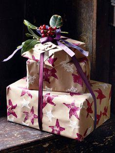 Make potato-print Christmas wrapping paper