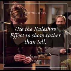 """We can use the Kuleshov Effect as a sort of omniscient commentary on the story. This is a powerful """"show don't tell"""" method that can allow us to provide an explicit description in an implicit way. Learn more in this post! Music Writing, Fiction Writing, Writing Advice, Writing Resources, Writing A Book, Start Writing, Sight Word Practice, Sight Word Games, Show Dont Tell"""