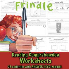 """No student wants to follow up a chapter of """"Frindle"""" with boring questions and answers. Our solution? These comprehension activity printables. They're aligned with the Common Core, beautifully illustrated and will help your students to capture the very essence of Andrew Clements work."""