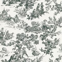 Bucolic black and white scenes include bridges, trees, and ladies, with an overwhelming sense of being fancy and free in the countryside in this wallpaper.