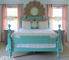 I like the painted wood bed... save to remind myself how painting our bed is a good idea.