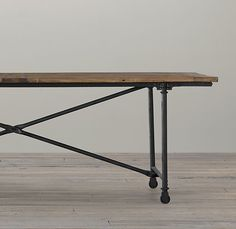 reclaimed wood + cast metal dining table