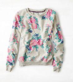 Floral AEO Floral Crew Sweatshirt