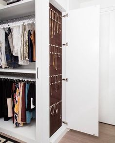Lisa Adams On Instagram To Note All The Same White Wood Hangers A Hanging Jewelry Cabinet Laclosetdesign Closet Tyrabanks