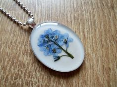 Forget Me Not Necklace, Real Forget Me Not Necklace, Pressed Flowers Pendant, Resin Necklace, Resin Jewellery, Flower Jewellery by ResinJewelsbyAlice on Etsy