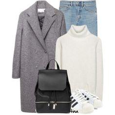 Gray Coat & White Sneakers
