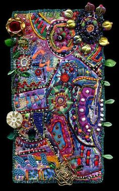 SuSan SoRrELL 'Spending the Day Musing on Life' Painted fiber, beaded, embroidered, & embellished Abstract Ribbon Embroidery, Beaded Embroidery, Embroidery Stitches, Embroidery Designs, Textiles, Fabric Art, Fabric Crafts, Art Tribal, Creation Art