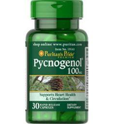 30 cápsulas de 100 mg. Potente Antioxidante.  Pycnogenol tiene propiedades antioxidantes superiores que ayudan a luchar contra los radicales libres de las células del cuerpo, tales como las células de los ojos y la piel. Contribuye con la circulación saludable y la función cardíaca