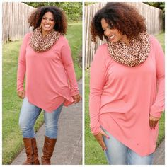 Scarf: Be Fierce $18 Top: Georgia Peach $39 Available on www.pinkslateboutique.com Georgia, Curvy, Peach, Collection, Tops, Peaches, Tank Tops, Fishing, Blouses