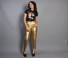 Vintage 80s GOLD LEATHER PANTS / Fitted High Waist Pants