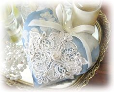 ONE Sachet Heart Cottage Style BLUE Damask by CharlotteStyle, $12.50