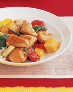 Low 3-4 Weight Watchers Sweet and Sour Chicken Crock Pot Recipe  Ingredients:  - 1 lb boneless, skinless chicken breast  - 5.5 oz (about half of the 11.5 oz jar) Kikkoman Sweet & Sour Sauce  - 1/4 teaspoon garlic powder  - 1/4 teaspoon onion powder  - 8 oz pineapple chunks in juice, drained (reserve 1/4 cup juice)  - 1 tablespoons brown sugar  - 16 oz bag of frozen stir-fry vegetables