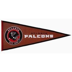 """Made and Designed by Winning Streak. From the NFL Pigskin Collection. Highly detailed embroidery applique design featuring the Atlanta Falcons logo. Made of authentic style football """"pigskin"""" material. Cincinnati Bengals, Indianapolis Colts, Pittsburgh Steelers, Dallas Cowboys, Sports Games, Nfl Sports, Sports Flags, San Diego Chargers, Pennant Banners"""