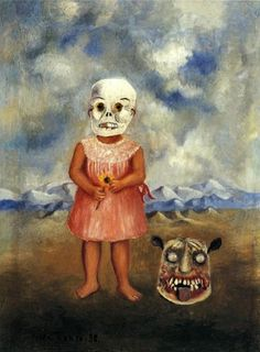 Frida Kahlo Girl with Death Mask painting for sale - Frida Kahlo Girl with Death Mask is handmade art reproduction; You can shop Frida Kahlo Girl with Death Mask painting on canvas or frame. Diego Rivera, Frida E Diego, Frida Art, Frida Kahlo Artwork, City Art, Fridah Kahlo, Arte Latina, Kahlo Paintings, Scary Paintings