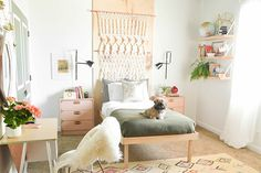 A Boho Bedroom Makeover That'll Make Your Jaw Drop #refinery29  http://www.refinery29.com/vintage-revivals/1#slide4  Here it is! (Even Buster —  the fluffiest pup you've ever seen — totally digs it.)