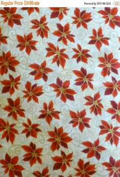 Clearance SALE Cotton Fabric, Quilt, Home Decor, Craft, Christmas, Pointsettias, Holiday Accents, RJR Fabrics, Fast Shipping