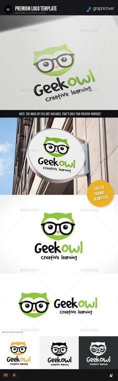 Geek Owl - Animals Logo Templates