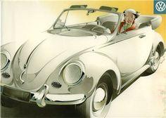 Volkswagen Beetle Convertible  - Sales Brochure Cover (1954): Graphic by Bernd Reuters