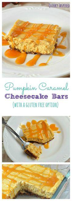 Pumpkin cheesecake recipes are the best fall desserts. This pumpkin caramel cheesecake bar recipe has a gluten free dessert recipe too!