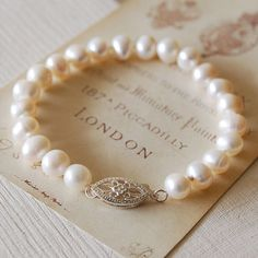 A classic freshwater pearl bracelet made with a traditional sterling silver clasp and freshwater pearls in adult and child sizes. £12.37
