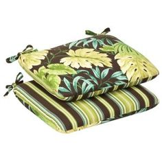 Shop for Pillow Perfect Outdoor Green/Brown Tropical/ Striped Rounded Reversible Seat Cushions (Set of Get free delivery On EVERYTHING* Overstock - Your Online Garden & Patio Shop! Round Seat Cushions, Outdoor Dining Chair Cushions, Patio Chairs, Buy Pillows, Tear, Perfect Pillow, Green And Brown, Tropical, Products