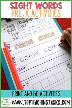 Sight Words Pre-K activities. 40 PreK level sight words based on the PreK Dolch Word List. Use this as part of your Word Work Daily 5 activities, or as an addition to your writing program. A great bonus – NO PREP! Just PRINT and GO! Only available at Top Teaching Tasks. #sightwords #sightwordsactivities