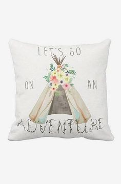 Pillow Cover Let's Go on An Adventure Floral Camping Tent