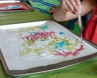 Have kids squirt white glue on construction paper in any design. Next, sprinkle salt over glue, then lightly shake off excess. Put colored paint or gelatin w/water and have kids use droppers to drop paint on salt. Watch the paint follow the path!