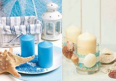 candle centerpiece with a summer flair
