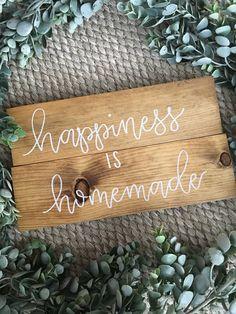 Happiness is Homemade Rustic Wood Sign Golden Oak by Hartfeltdecor