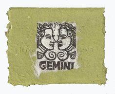 Gemini card, lino print on handmade paper by Jennifer Kunin www.etsy.com/shop/JenniferKuninStudio