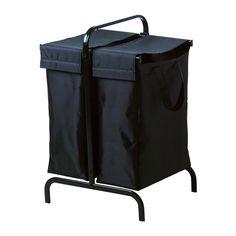 MULIG Pyykkisäkki + teline - musta - IKEA